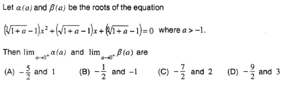 Let alpha(a) and beta(a) be the roots of the equation