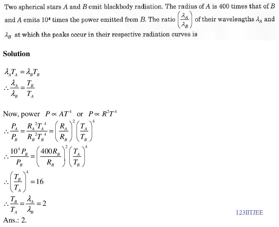 JEE Adv 2015 Paper-1 Stars Blackbody Radiation Problem
