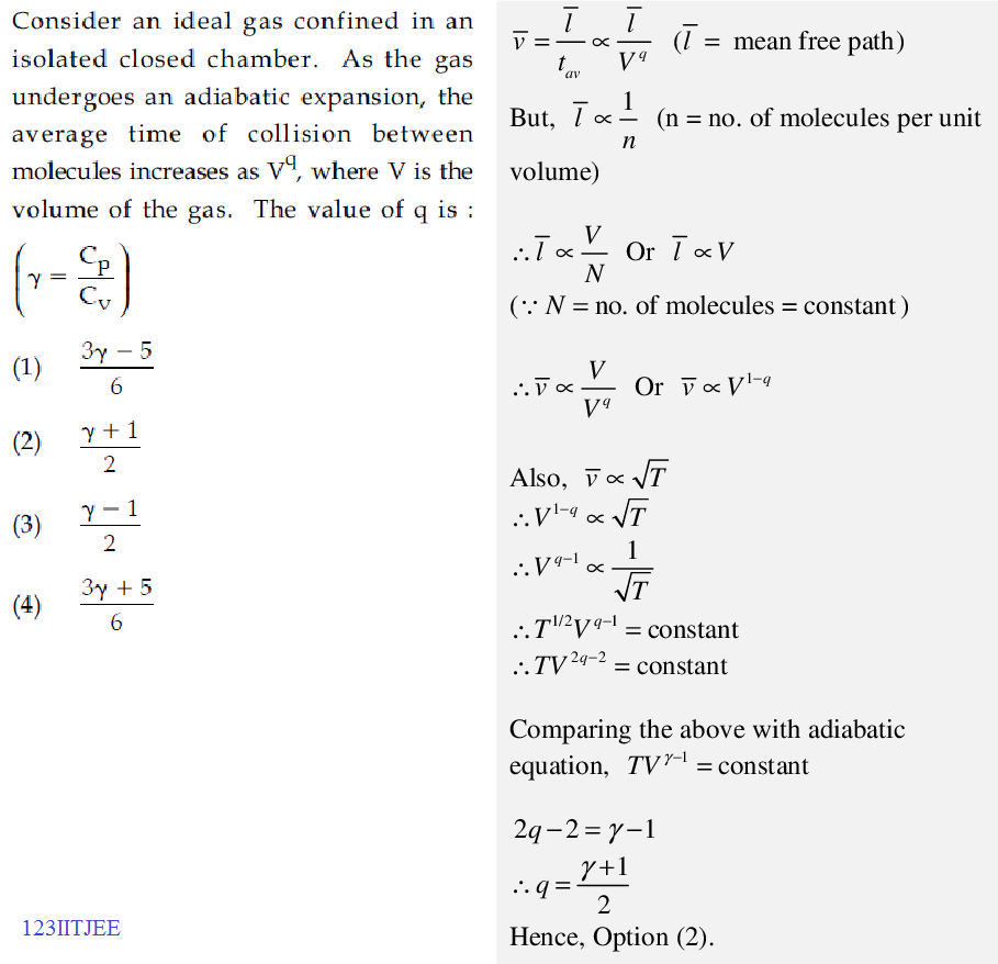 JEE Main 2015 Adiabatic Expansion Mean Free Path Problem